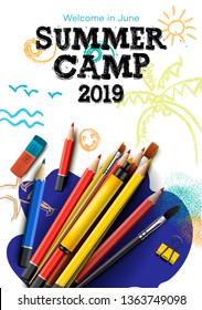 Themed Summer Camp poster 2019, vector illustration.
