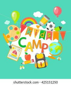 Themed Summer Camp  poster in flat style, vector illustration.