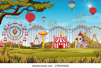 Themepark scene with many rides in the big field illustration