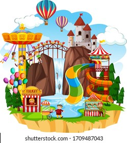 Themepark scene with many rides at day time illustration