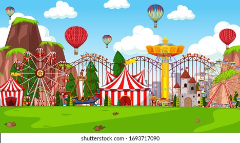Themepark scene with many rides in the field illustration