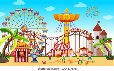 Themepark scene with many rides and happy kids illustration