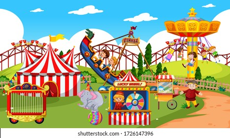 Themepark scene with many rides and happy children illustration