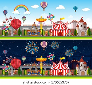 Themepark scenes with many rides at day time and night time illustration