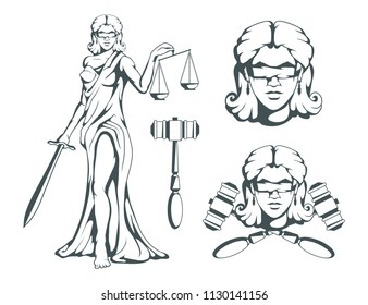 Themis - Ancient Greek goddess of justice. Hand drawn scales of justice. Symbols of the femida - justice, law, scales. Libra and a sword in hands, a bandage on eyes. Vector graphics to design
