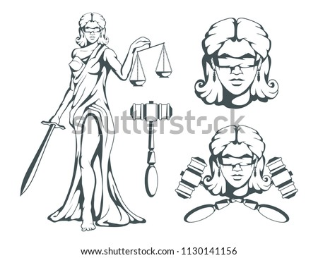 Themis Ancient Greek Goddess Justice Hand Stock Vector Royalty Free