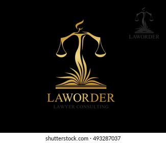 Themis with balance on the lawbook. Law firm logo template. Concept for legal firms, notary offices or justice companies