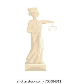 Themis Femida statue, Lady of Justice cartoon vector Illustration