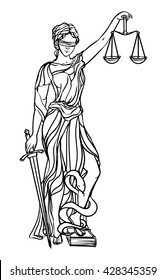 Themis goddess of justice. Femida vector illustration. Lady goddess of justice symbol.