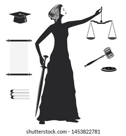 Themis Goddess, scales of justice, sword, academic hat, scroll, judge's hammer - isolated on white background - vector.
