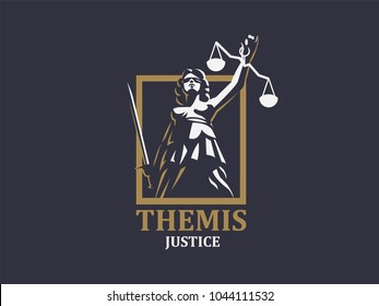 Themis or Justice with sword and weights. Vector emblem.