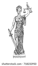 Themis Lady Justice holding scales and sword and wearing a blindfold. Retro vintage hand drawn engraving vector lineart illustration