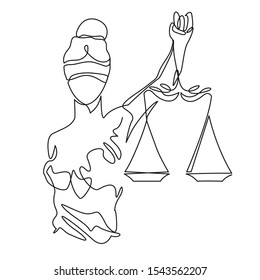 Themis statue holding scales balance continuous one line drawing. Symbol of justice and order contour clip art. Libra or law identity concept simple vector illustartion isolated on white background.