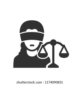 Themis. A woman with blindfolds and scales of justice. Court. monochrome icon