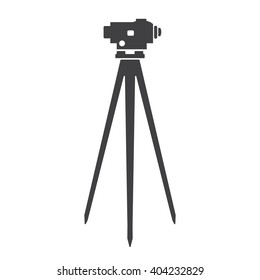 Theodolite on tripod line icon for web, mobile and infographics. Vector dark grey icon isolated on light grey background.