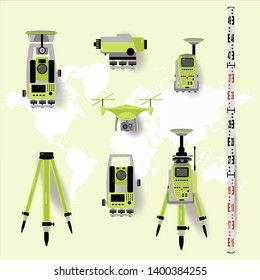 Theodolite, tacheometer, total station, drone, level, map sketch isolated on world map  background.