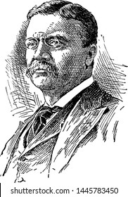Theodore Roosevelt, vintage engraved illustration