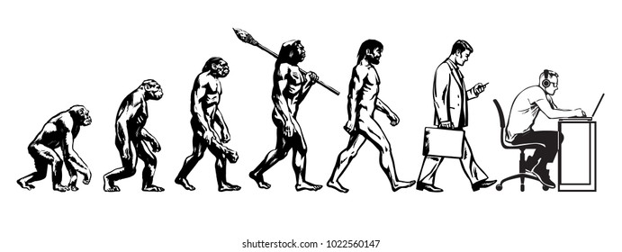 Theory of evolution of man. Human development. From monkey to caveman and modern businessmen talking on mobile phone and programmer sitting at computer. Hand drawn sketch vector illustration isolated.