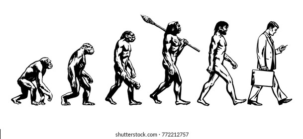 Theory of evolution of man. Human development. From monkey to modern businessmen   with  briefcase talking on mobile phone. Hand drawn sketch vector illustration isolated on white