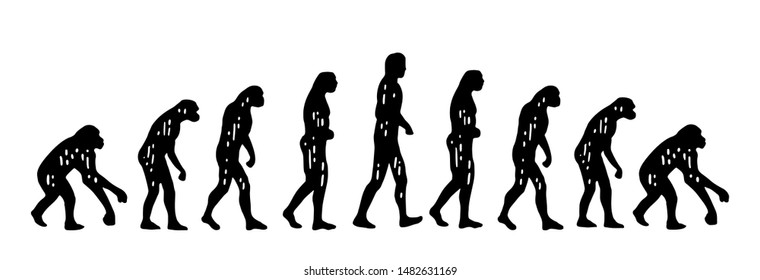 Theory of evolution of man, on the contrary. From monkey to human and back. Vintage black engraving illustration for poster and t-shirt. Isolated on white background.