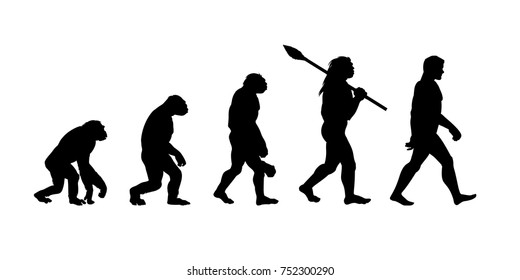 Theory of evolution of man. silhouette. Human development. Hand drawn sketch vector illustration isolated on white