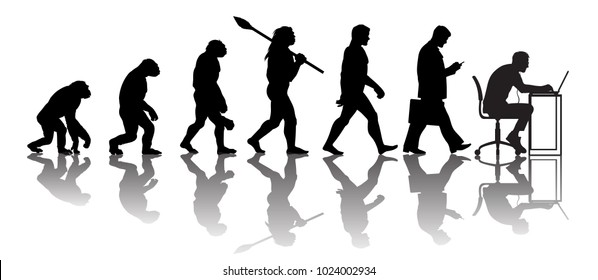 Theory of evolution of man. Silhouette with reflection. Human development from monkey to caveman, modern businessmen talking on mobile phone, programmer sitting at computer. Hand drawn sketch vector.
