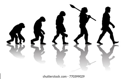 Theory of evolution of man. Silhouette with reflection. Human development. Hand drawn sketch vector illustration isolated on white