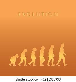 theory of evolution, vector illustration, for background, white background, LEONARDO DA VINCI.