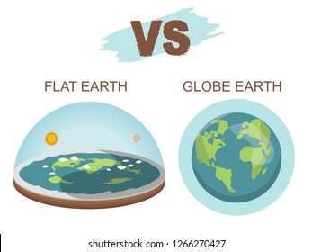 Theory of flat earth. Flat Earth in space with sun and moon vs spherical earth. Vector illustration. isolated on white background