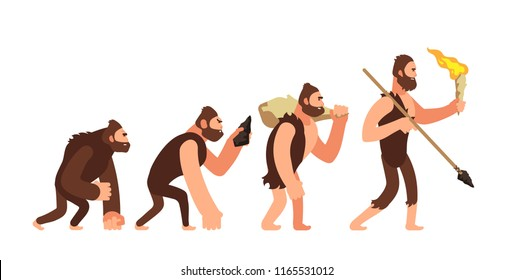 Theory of human evolution. Man development stages. Anthropology vector illustration. Evolution human, development progress people
