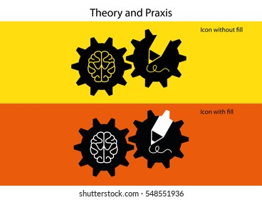 theory and praxis concept as cog wheels