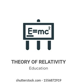 Theory of relativity vector icon on white background. Flat vector theory of relativity icon symbol sign from modern education collection for mobile concept and web apps design.