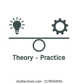 Theory-Practice. Balance. Vector icon.
