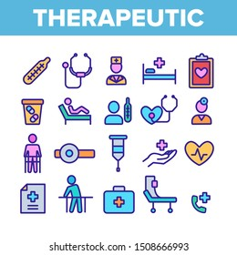 Therapeutic Collection Elements Icons Set Vector Thin Line. Sanitary Case And Nurse, Doctor And Patient, Tablet And List Therapeutic Concept Linear Pictograms. Color Contour Illustrations