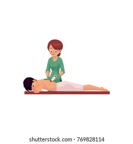 Therapist, beautician doing laser back hair removal procedure for man in beauty salon, SPA, clinic, cartoon vector illustration isolated on white background. Laser back hair removal, depilation