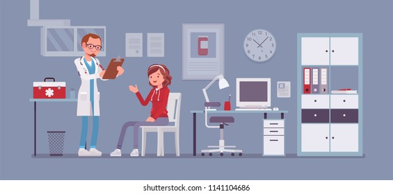 Therapist doctor consulting patient. Male general health physician receive and treat woman in hospital room or clinic office. Medicine and healthcare concept. Vector flat style cartoon illustration