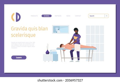 Therapist landing. Spa salon medical manual therapy relax body thai doctor garish vector web page with place for text