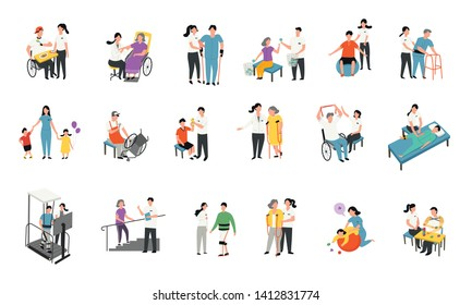 therapist with patient, medical rehabilitation activities, exercise in people with disability. flat, faceless character design set