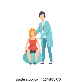 Therapist working with disabled woman and fitball, medical rehabilitation, physical therapy activity vector Illustration