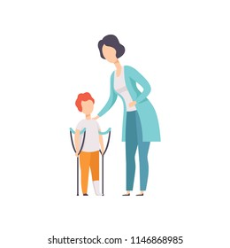 Therapist working with little boy with fracture of leg, recovery after trauma, medical rehabilitation, physical therapy activity vector Illustration
