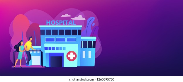 Therapist working with patient at rehabilitation center. Rehabilitation center, rehabilitation hospital, stabilization of medical conditions concept. Header or footer banner template with copy space.
