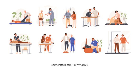 Therapists helping patients during physio therapy and rehabilitation set. Physiotherapy treatment for people with physical disabilities. Flat graphic vector illustration isolated on white background
