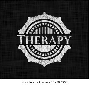 Therapy chalk emblem, retro style, chalk or chalkboard texture