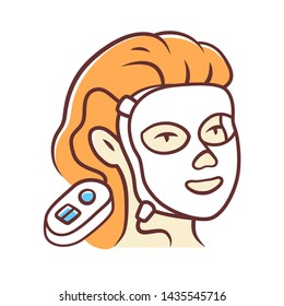Therapy facial mask color icon. Beauty device for home use. LED light therapy. Cosmetology instrument. Skin care. Acne removal. Isolated vector illustration
