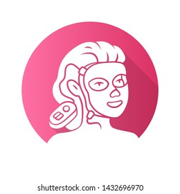 Therapy facial mask flat design long shadow glyph icon. Beauty device for home use. LED light therapy. Cosmetology instrument. Skin care. Acne removal. Vector silhouette illustration