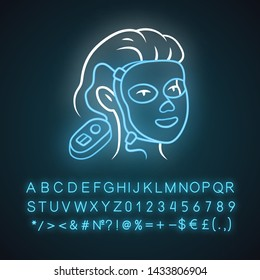 Therapy facial mask neon light icon. Beauty device for home use. LED light therapy. Skin care. Acne removal. Glowing sign with alphabet, numbers and symbols. Vector isolated illustration