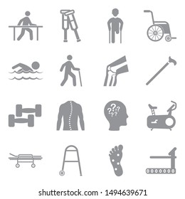 Therapy Icons. Gray Flat Design. Vector Illustration.