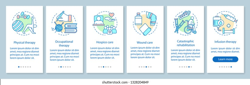 Therapy onboarding mobile app page screen with linear concepts. Nursing service walkthrough steps graphic instructions. Hospice, medical care for patients. UX, UI, GUI vector template, illustrations