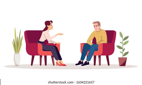 Therapy session semi flat RGB color vector illustration. Interview. Meeting. Couple in armchairs. People having conversation in cozy room. Psychology consultation. Isolated cartoon character on white