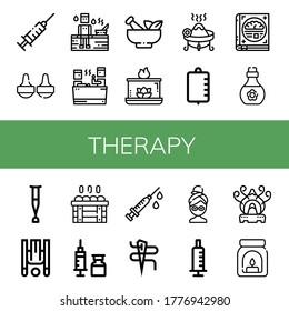 therapy simple icons set. Contains such icons as Syringe, Massage, Sauna, Mortar, Aromatic candle, Incense, Iv bag, Psychology, Skin oil, can be used for web, mobile and logo